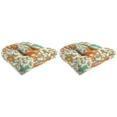 Outdoor Wicker Chair Cushion in Menagerie Cayenne (Set of 2)