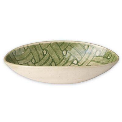 Wonki Ware Small Organic Bowl in Green Basket Weave