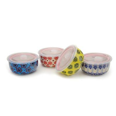 Signature Housewares 6-Inch Print 11 Storage Bowls (Set of 4)