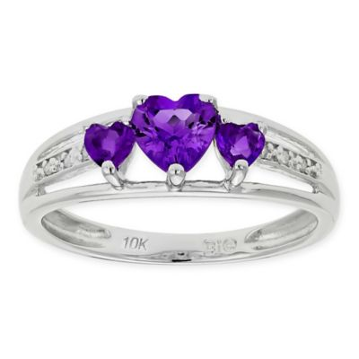 10K White Gold .02 cttw Diamond-Accented Amethyst Heart Trio Size 8 Ladies' Ring