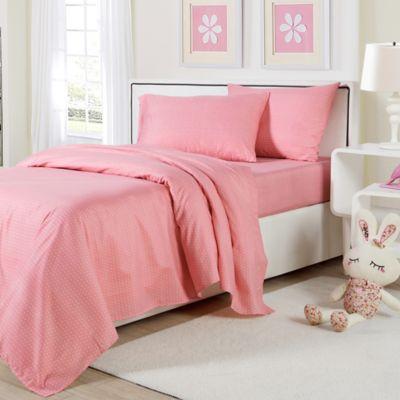 Lala + Bash Dottie Full Sheet Set in Pink