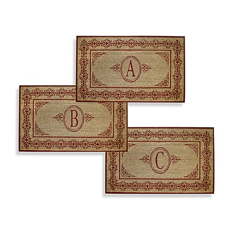 Scrolling Red 38-Inch x 60-Inch Monogrammed Doormat