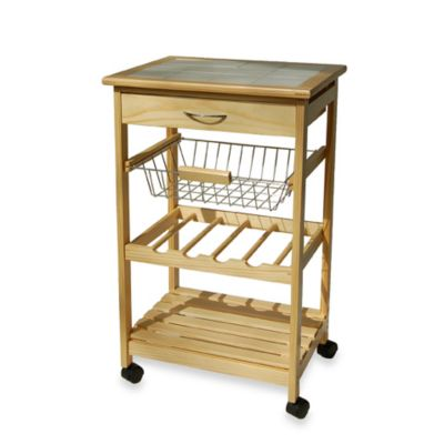 Kitchen Rolling Cart with Basket