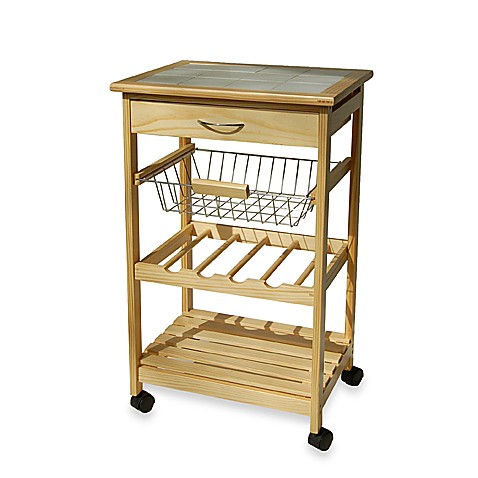 Kitchen Rolling Cart With Basket Bed Bath Beyond