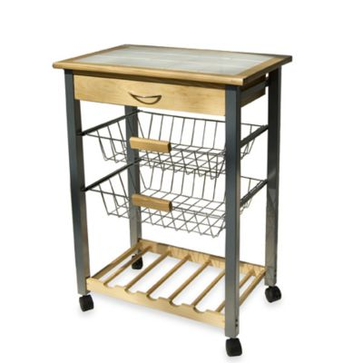 Rolling Kitchen Cart with Two Baskets