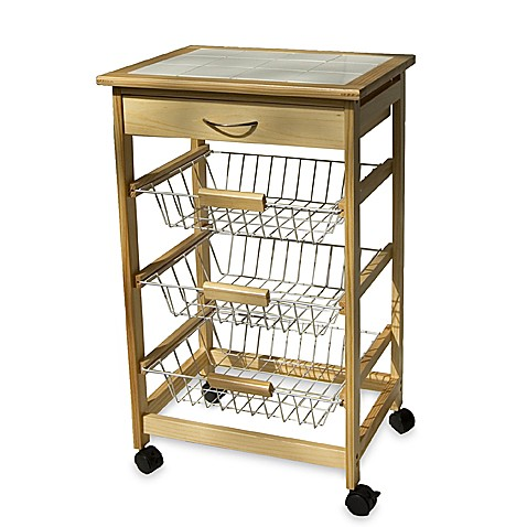 Rolling Kitchen Cart With Three Baskets Bed Bath Beyond