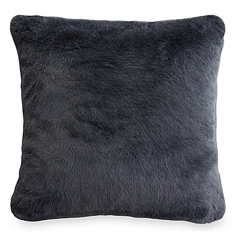 Buy Dkny Gotham Faux Fur Square Throw Pillow In Charcoal
