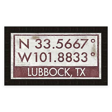 Lubbock Texas Coordinates Framed Wall Art www