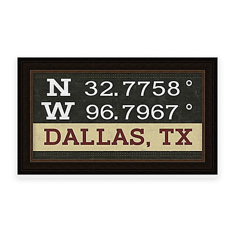 Buy Framed Gicl E Dallas Tx Coordinates Print Wall Art