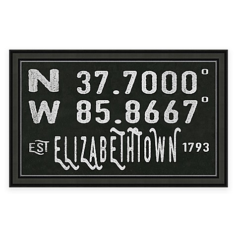Elizabethtown kentucky coordinates framed wall art www Usa bridal elizabethtown ky