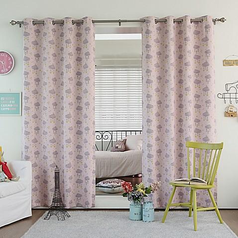 Buy Decorinnovation Clouds 63 Inch Room Darkening Grommet Top Window Curtain Panel Pair In Pink