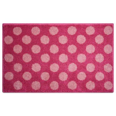 Grund® 1-Foot 9-Inch x 2-Foot 10-Inch Polka Dot Bath Rug in Pink