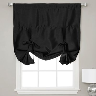 Decorinnovation Solid Faux Silk 42-Inch x 63-Inch Cordless Blackout Shade in Black