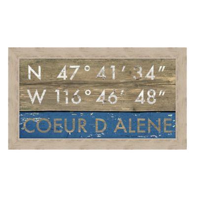 Coeur d'Alene Idaho Coordinates Framed Wall Art