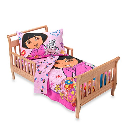 dora the explorer flowers 4 piece toddler bedding set buybuy baby