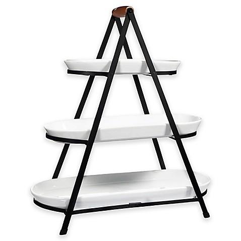 3 Tier Oblong Ceramic Server In White Bed Bath Amp Beyond