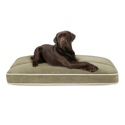 Baron Plush Channel Top Napper Large Pet Bed in Silver Green