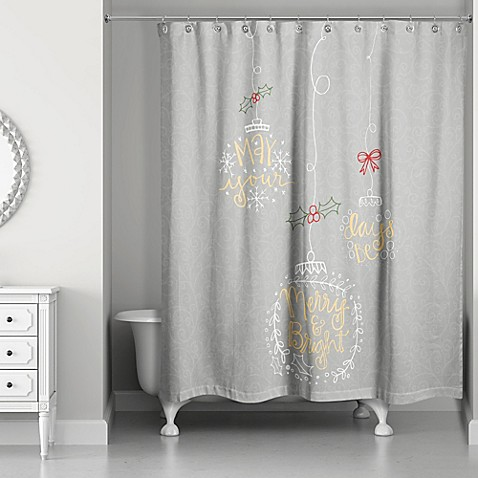 Buy Merry And Bright Shower Curtain In Grey Gold From Bed Bath Beyond