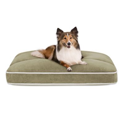 Baron Plush Channel Top Napper Medium Pet Bed in Silver Green