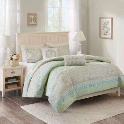Harbor House™ Adeline Full Comforter Set in Taupe/Green