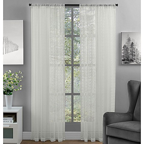Buy Chevron Lace 95 Inch Rod Pocket Window Curtain Panel In Ivory From Bed Bath Beyond