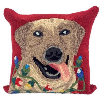 Front Porch Happy Holidays Square Throw Pillow in Red