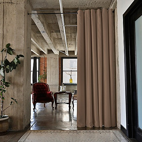 buy room dividers now small tension rod room divider kit a with 8 foot curtain panel in mocha. Black Bedroom Furniture Sets. Home Design Ideas