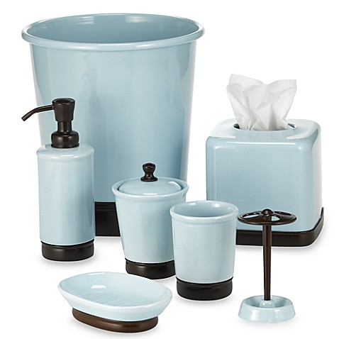 York blue chocolate bath ensemble bed bath beyond for Turquoise blue bathroom accessories