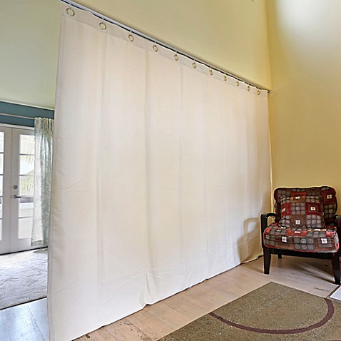 buy room dividers now small ceiling track room divider kit b with 9 foot curtain panel in pearl. Black Bedroom Furniture Sets. Home Design Ideas