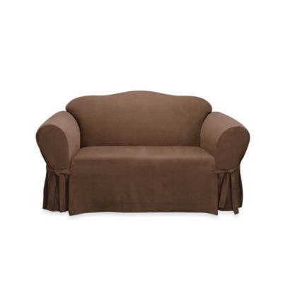 Sure Fit® Soft Suede Loveseat Furniture Cover in Cream