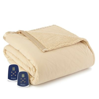 Micro Flannel® Quilted Top Reversing to Sherpa Electric Heated Twin Blanket in Chino
