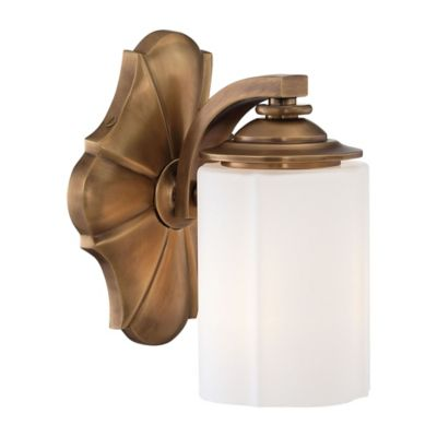 Metropolitan Home Leicester 1-Light Bath Fixture in Aged Brass with Glass Shade