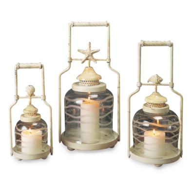Frosted Shell Lanterns (Set of 3)