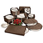 Brown Microfiber 8-Piece China Storage Set