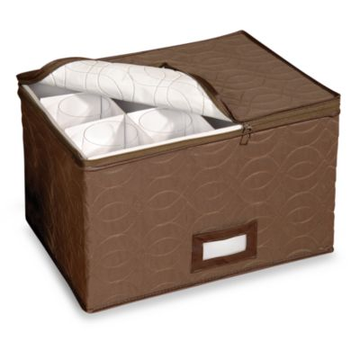 Brown Microfiber Stemware Storage Chest