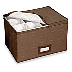 Brown Microfiber 12-Piece Stemware Chest