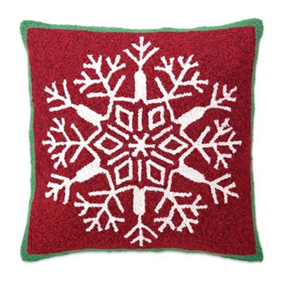 Snowflake Holiday Hand-Hooked Square Throw Pillow in Red