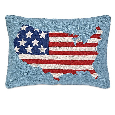 Buy Americana USA Flag Hand-Hooked Square Throw Pillow in Light Blue from Bed Bath & Beyond
