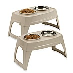 Small Elevated Feeding Tray With Stainless Steel Bowls