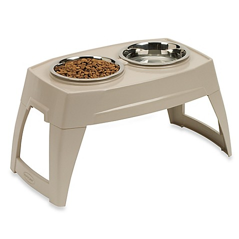 Suncast® Large Elevated Feeding Tray With two 8-inch Stainless Steel Bowls
