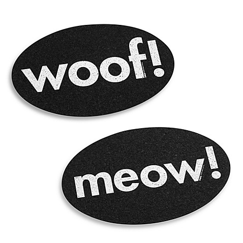Black 'Meow' & 'Woof' Placemats
