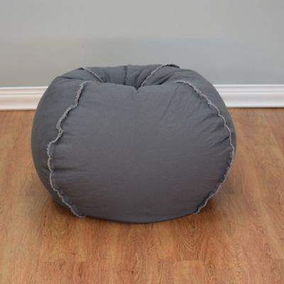 Large Canvas Bean Bag Chair with Exposed Seams in Charcoal Grey