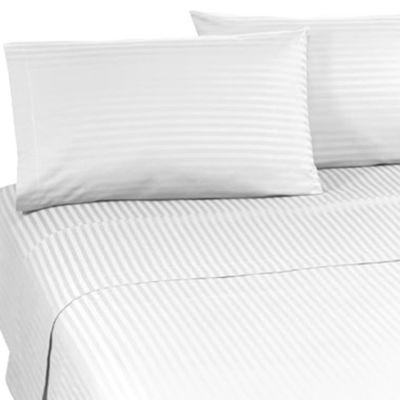 Wamsutta® Supima® Supreme Luxury Open Stock Queen Flat Sheet in White Stripe