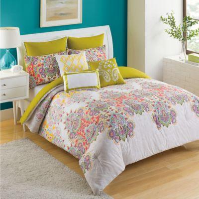 KAS Ingrid King 7-Piece Comforter Set in Green