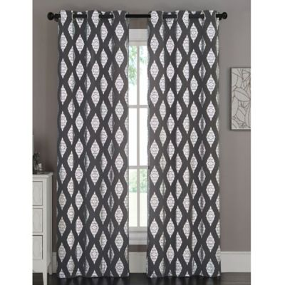 Marquis 84-Inch Grommet Top Window Curtain Panel Pair in Charcoal Grey