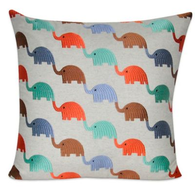 Linen Blend Elephants Square Throw Pillow