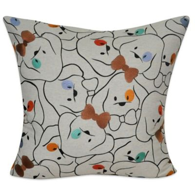 Linen Blend Dog with Bowtie Square Throw Pillow
