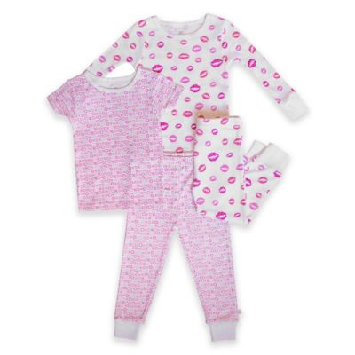 Rosie Pope® Size 24M 4-Piece Lips Pajama Set in Pink