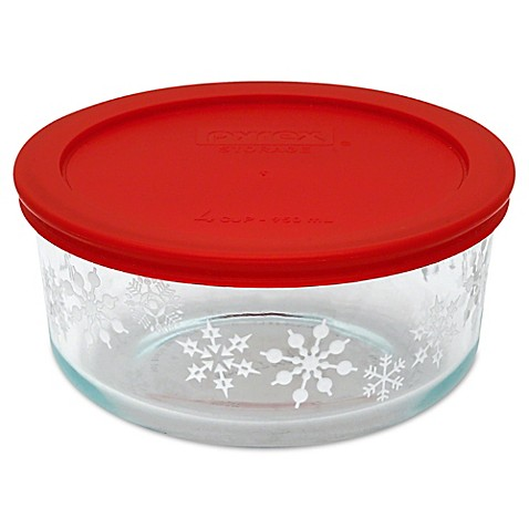 Pyrex 174 4 Cup Holiday Storage Container In Snowflakes Bed