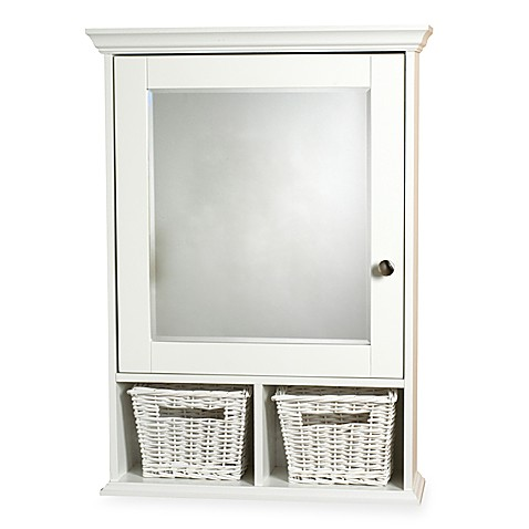 White Medicine Cabinet with Wicker Baskets